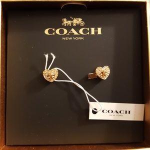 Twinkling heart studded earrings by Coach